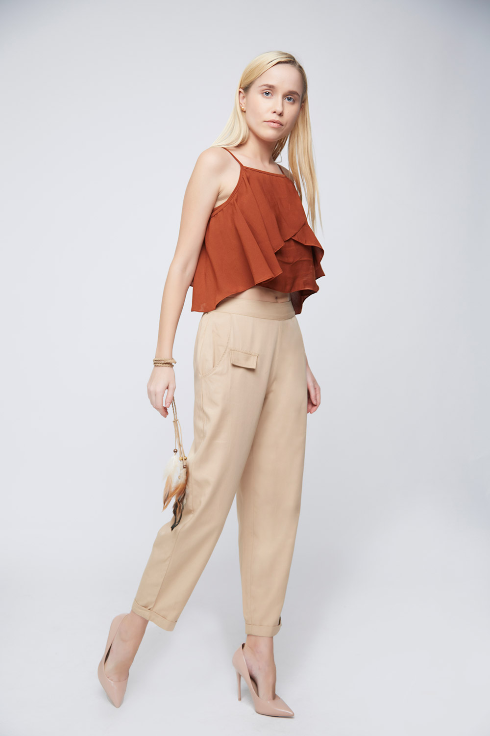 Shoulder Ruffle Crop Top -1