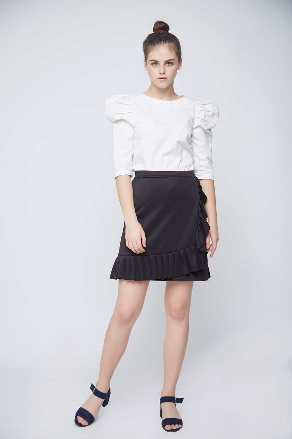 White Leg Of Mutton Sleeve Top -0