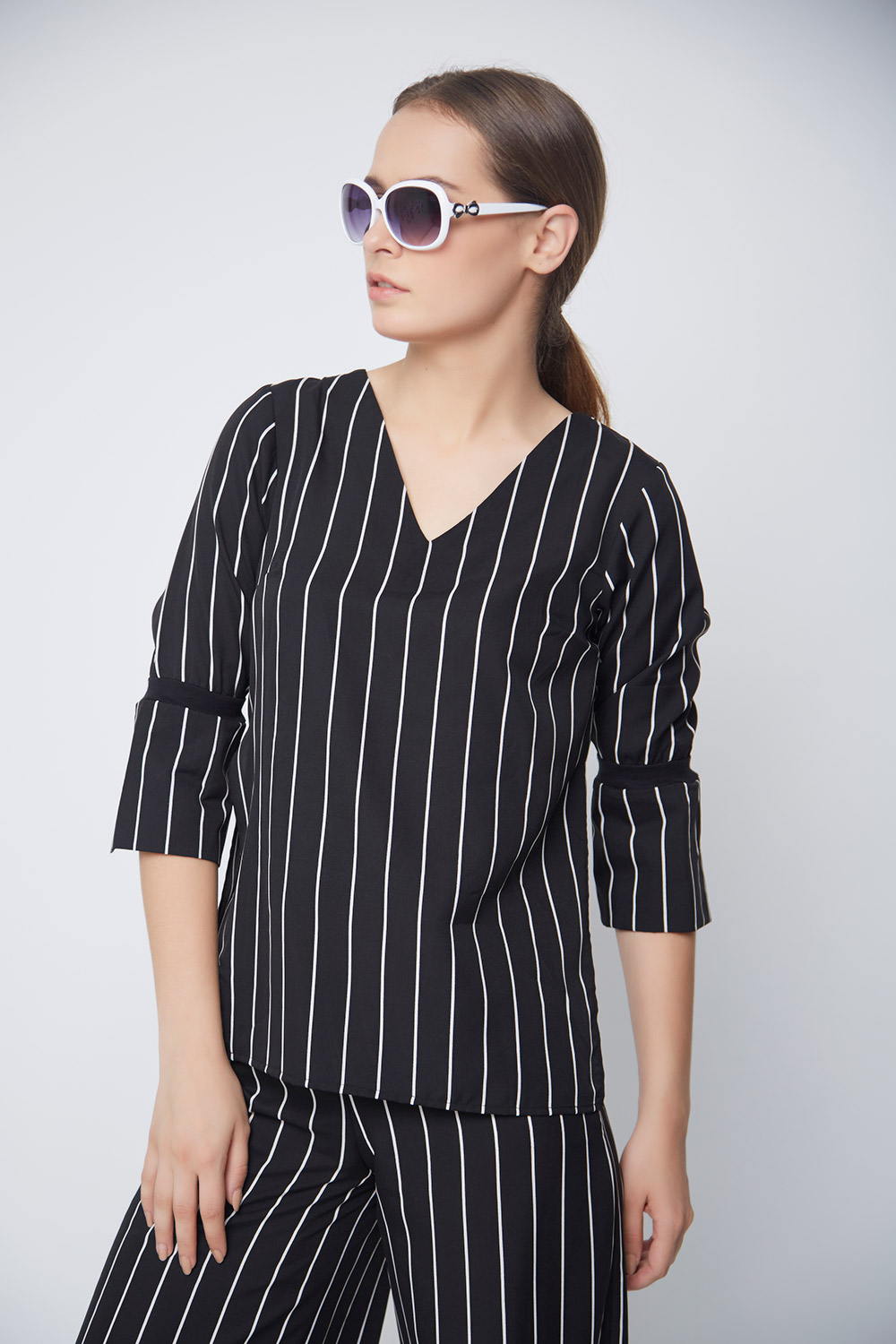 Striped Bell Sleeve Top -3