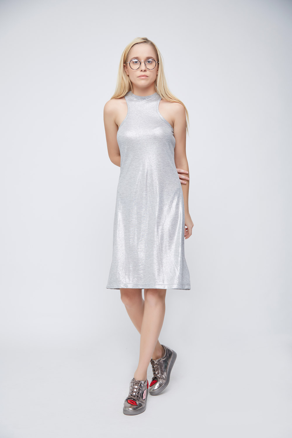 Grey Shimmer Casual Dress -1