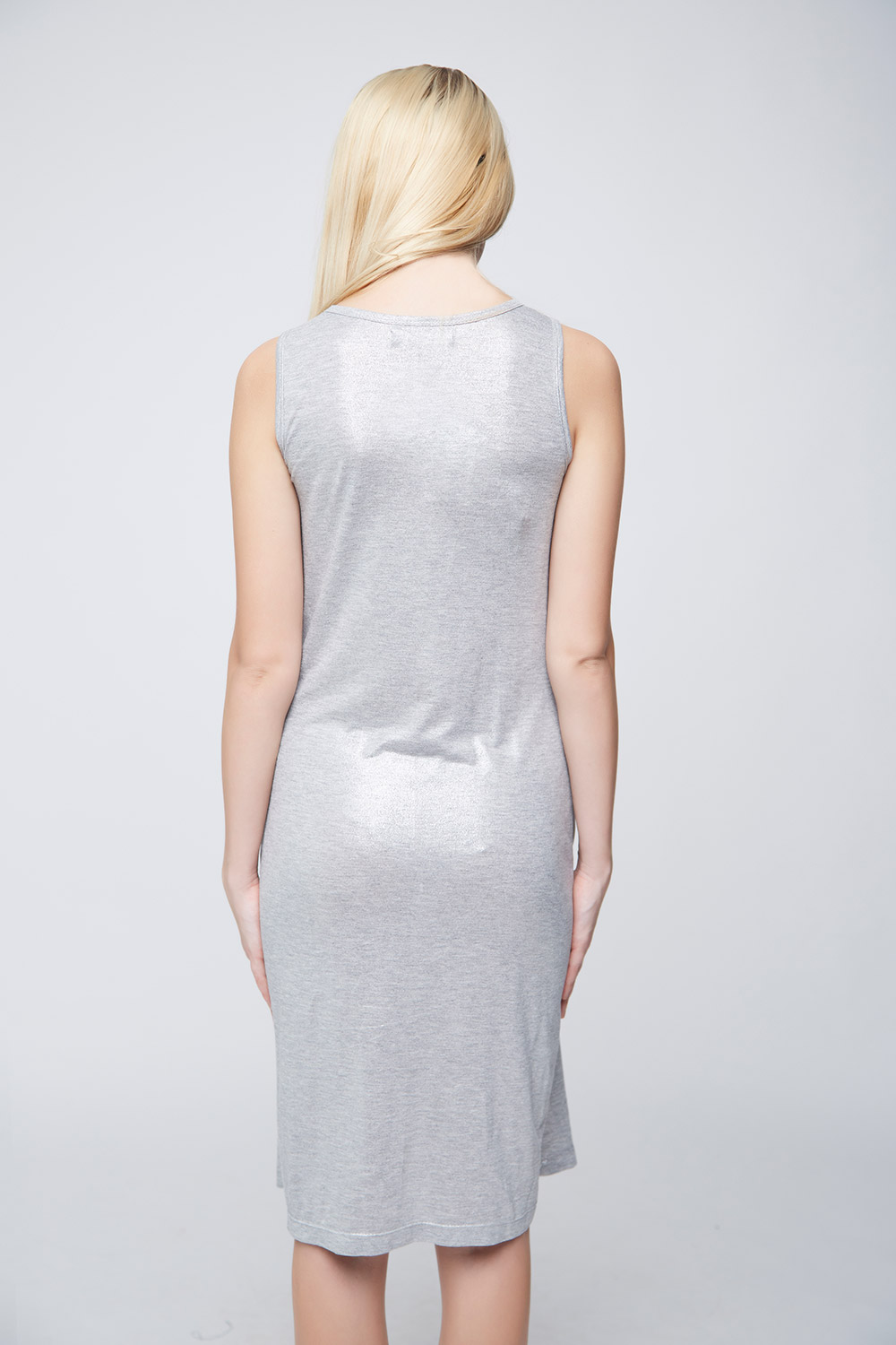 Grey Shimmer Casual Dress -2