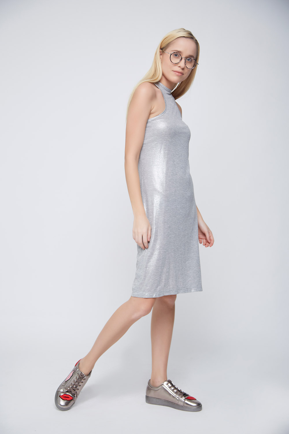 Grey Shimmer Casual Dress -3