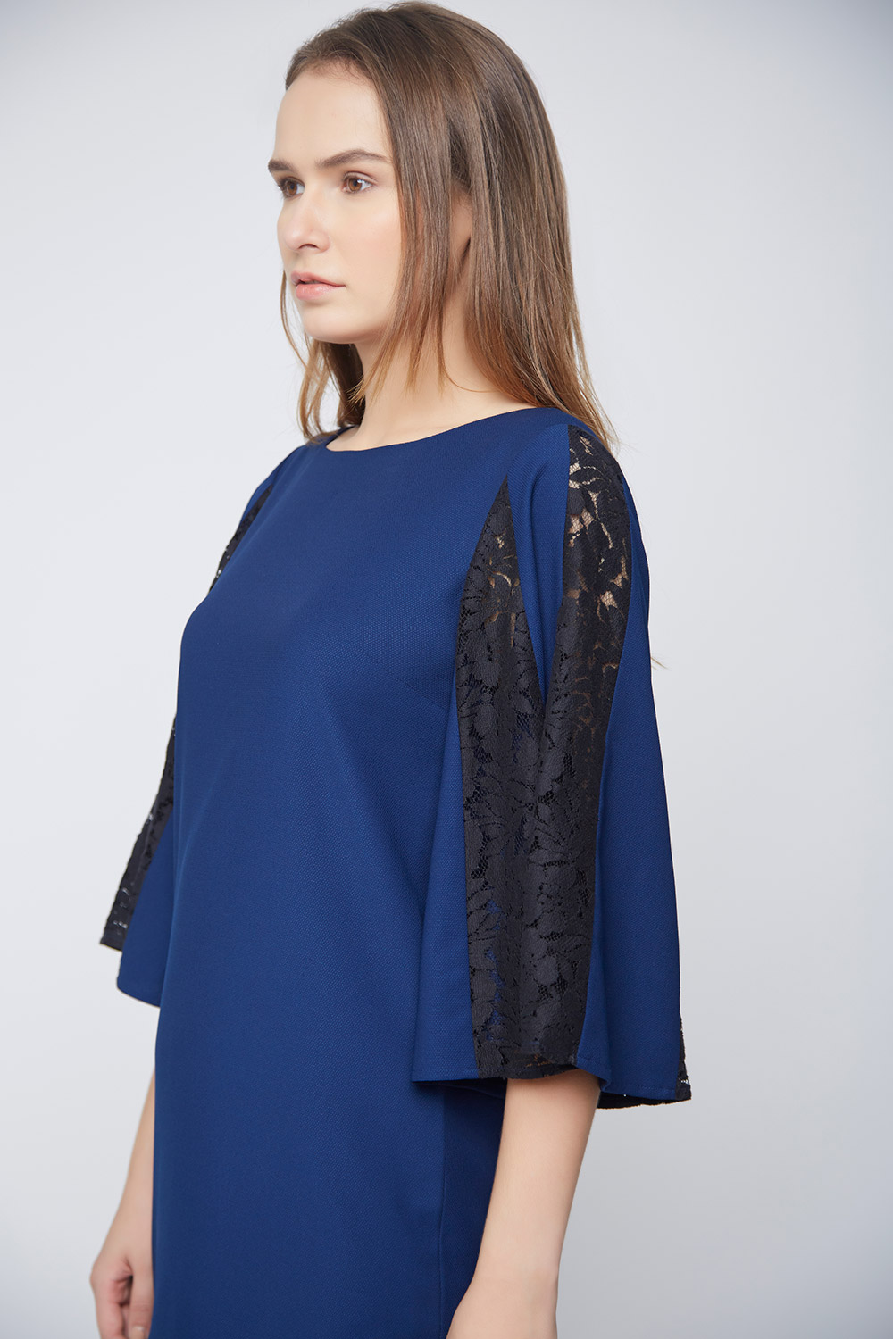 Blue Dress Black Net Pannel Sleeves -2