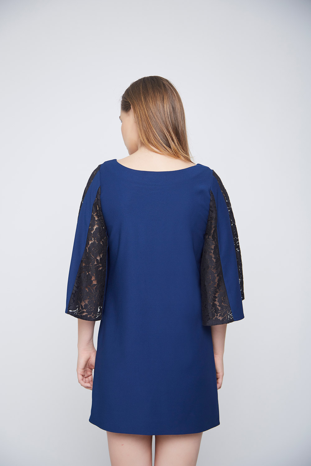 Blue Dress Black Net Pannel Sleeves -3