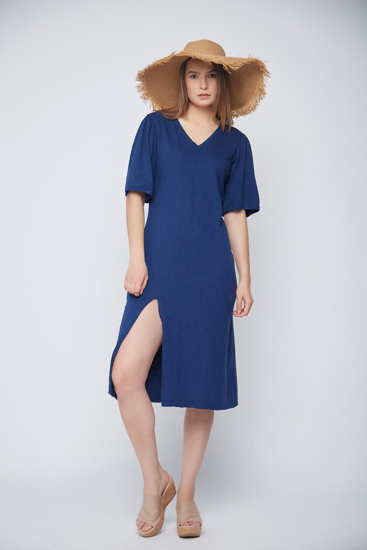 Blue Slit Casual Dress -0