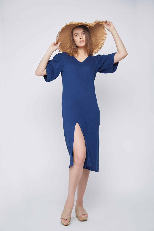 Blue Slit Casual Dress -2