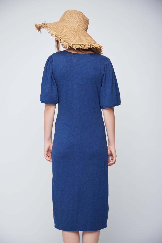 Blue Slit Casual Dress -3