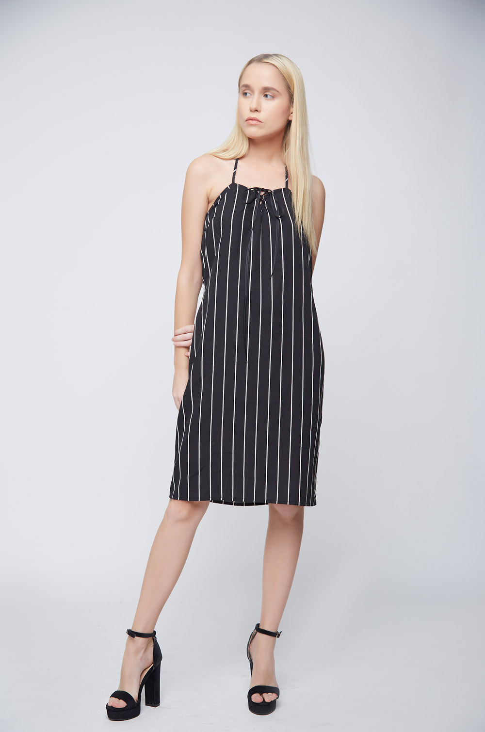 Black White Stripes Ramona Dress -1