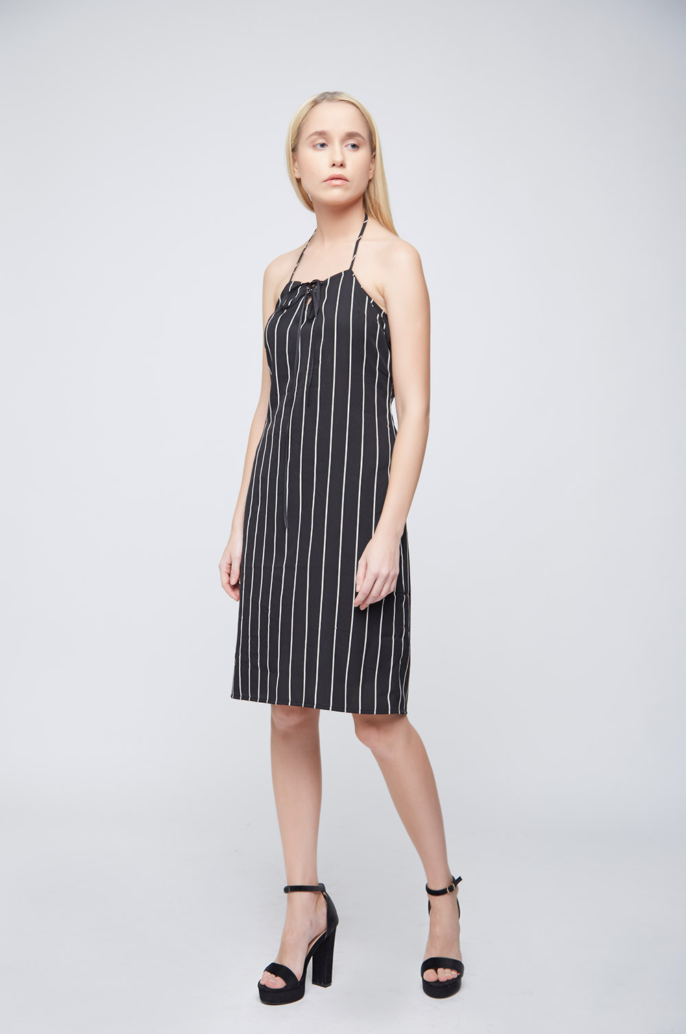 Black White Stripes Ramona Dress -2