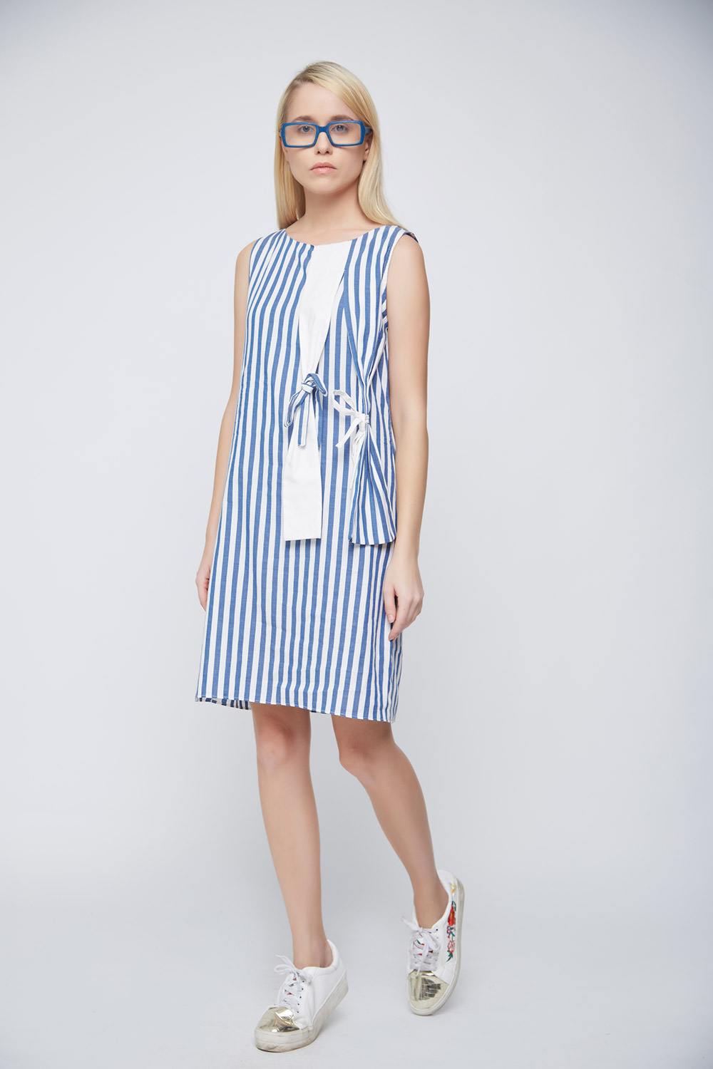 Striped Hanging Bow Dress -2