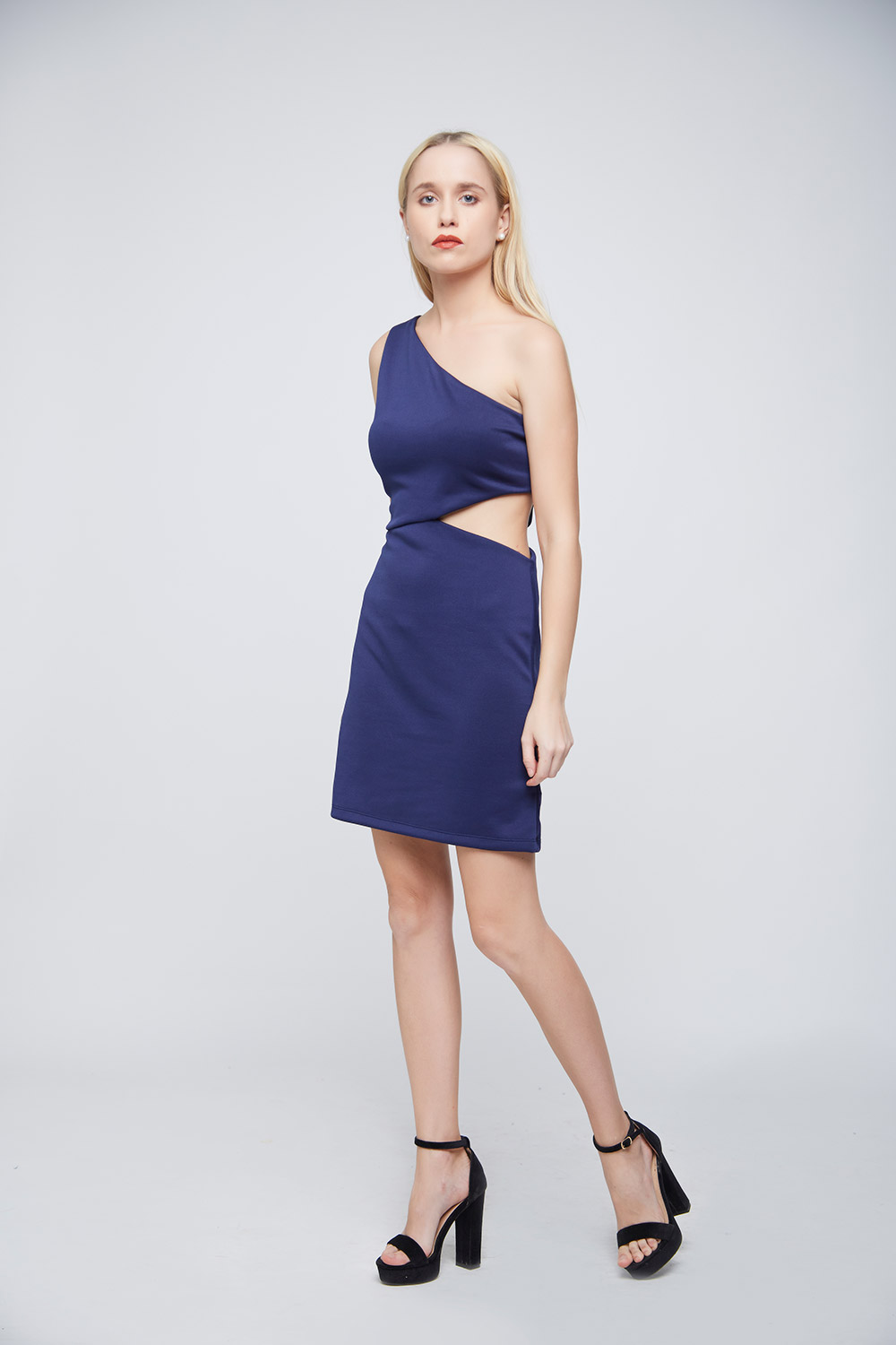 Blue Side Waist Cut Dress -0