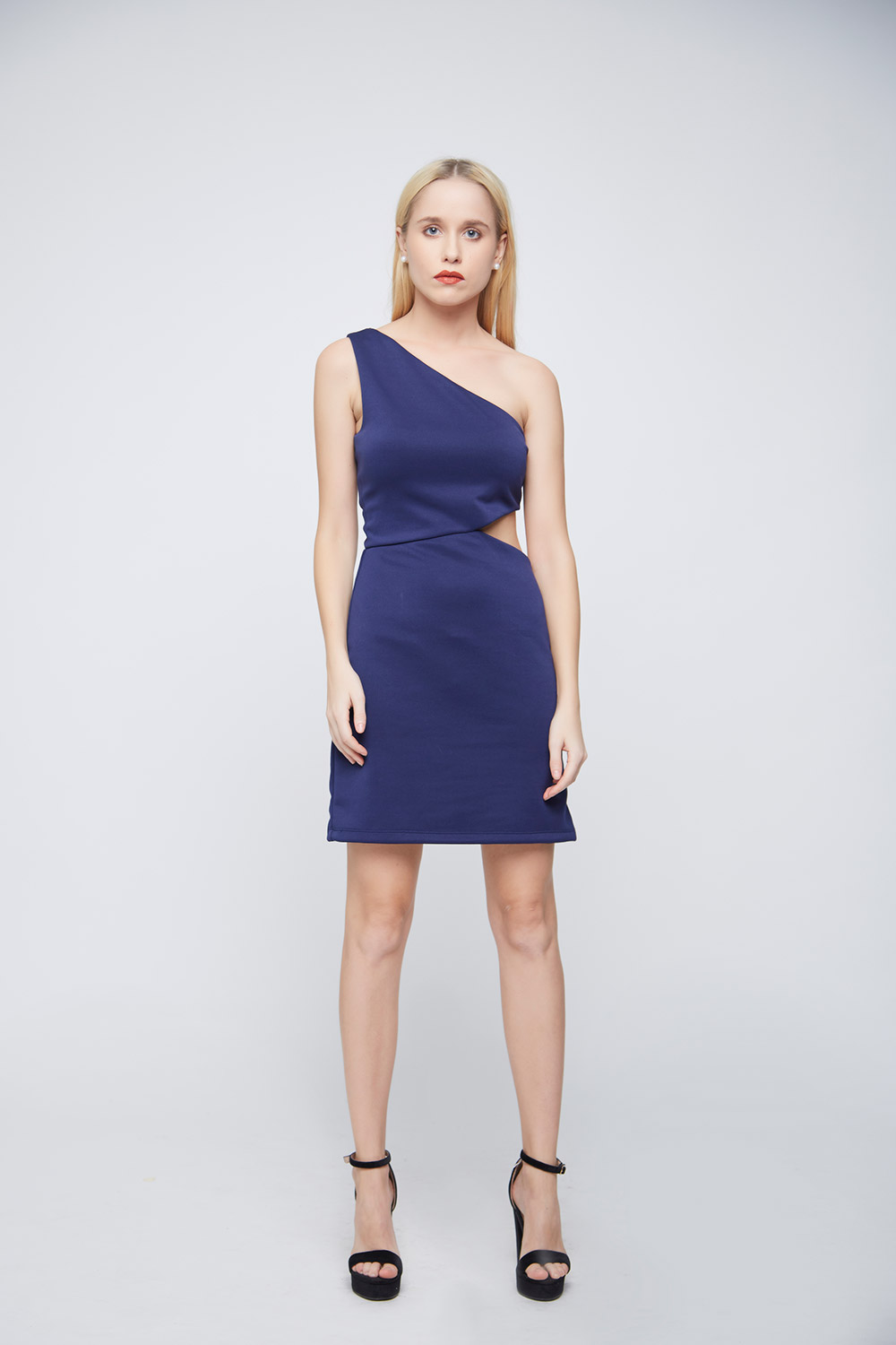 Blue Side Waist Cut Dress -2
