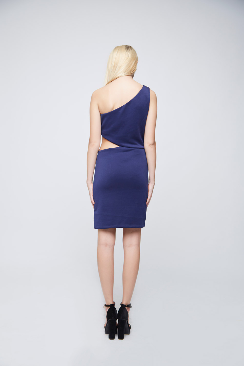 Blue Side Waist Cut Dress -3