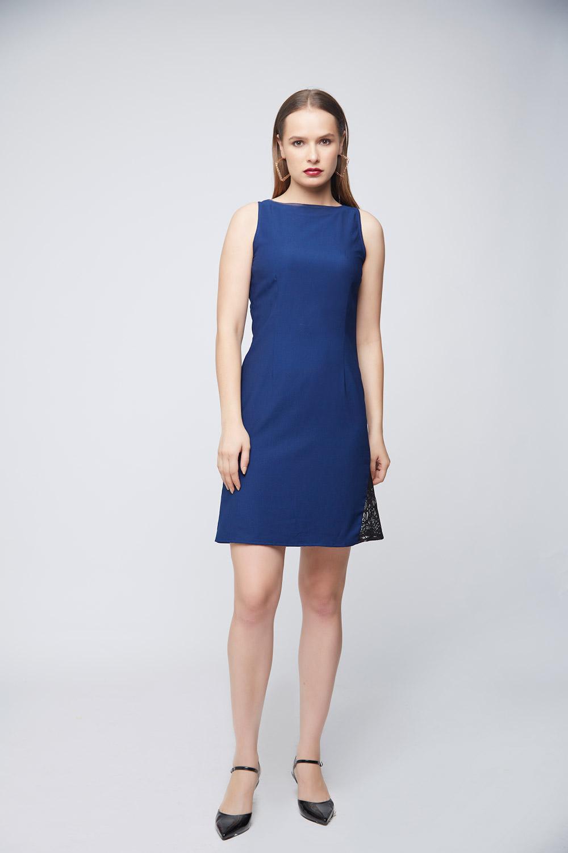 Blue Mattie Side Lace Dress -0