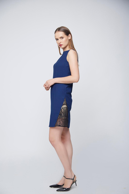 Blue Mattie Side Lace Dress -2