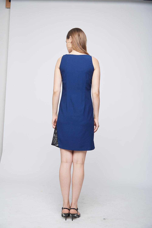 Blue Mattie Side Lace Dress -3