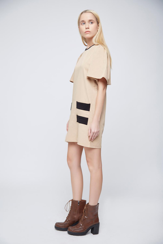 Cool Beige Double Pocket Dress -0