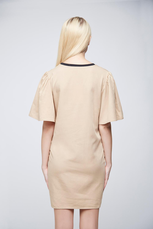 Cool Beige Double Pocket Dress -1
