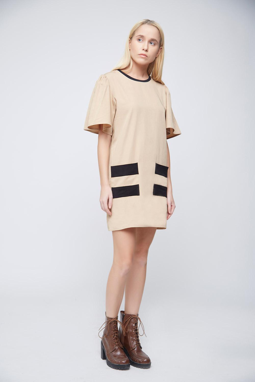 Cool Beige Double Pocket Dress -2