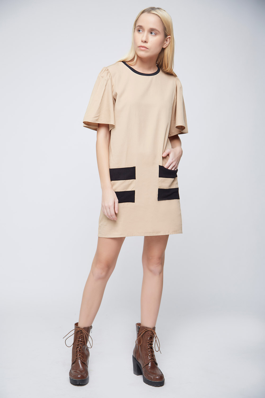 Cool Beige Double Pocket Dress -3
