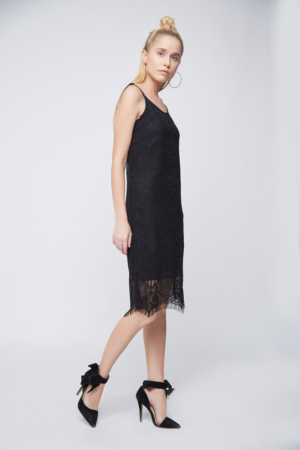 Black Lace Scalloped Dress -0