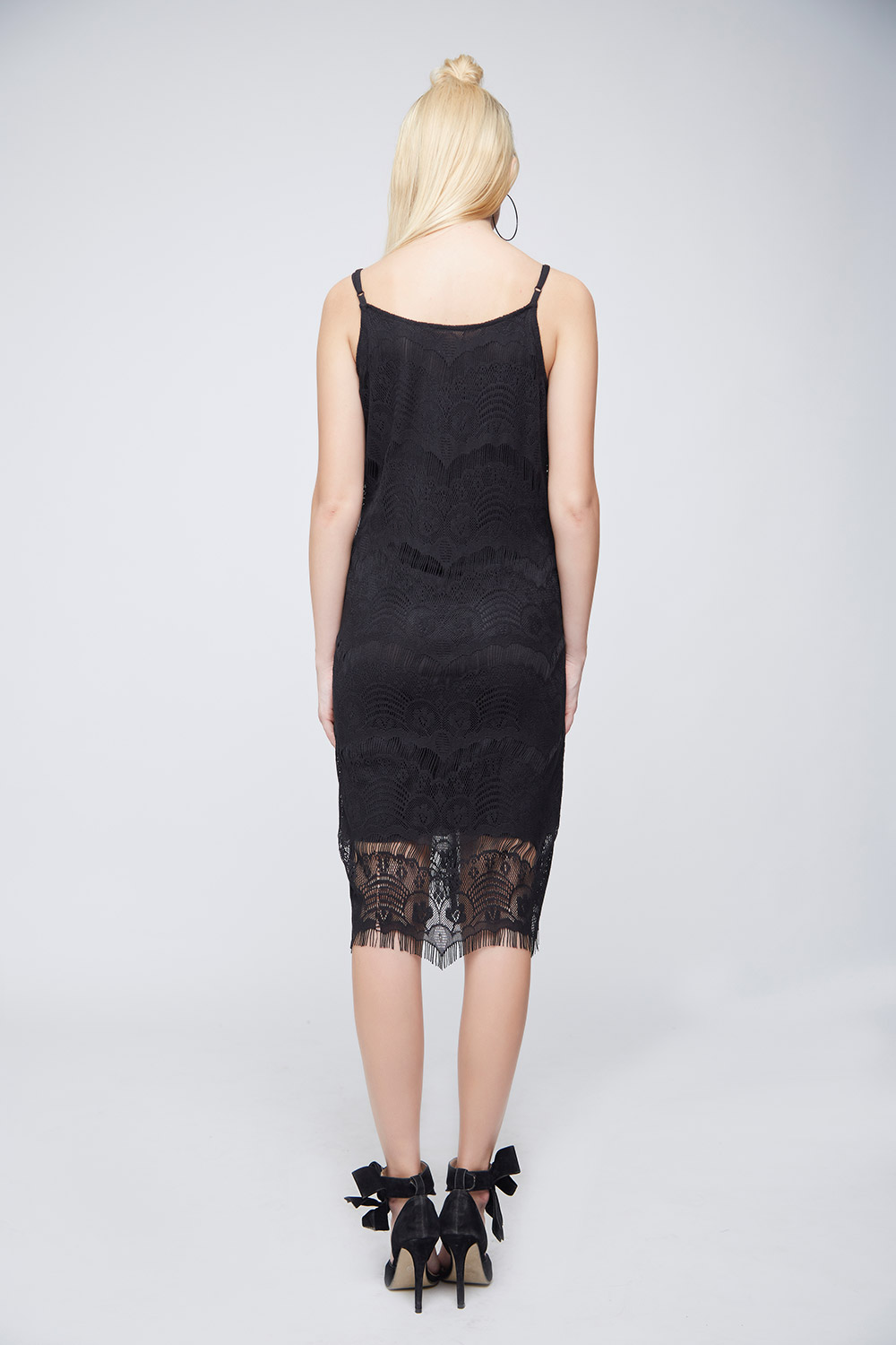 Black Lace Scalloped Dress -3