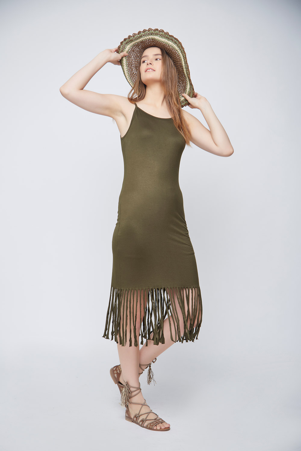 Olive Fringes Body-Con Dress -0