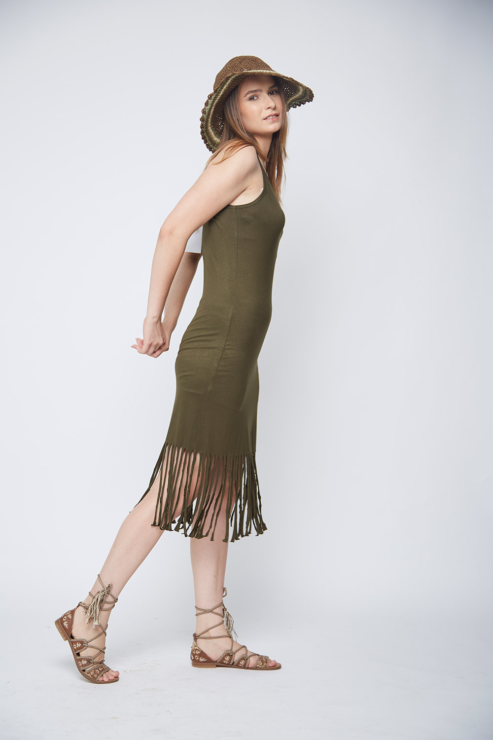 Olive Fringes Body-Con Dress -1