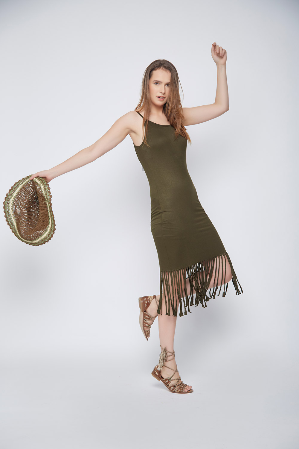Olive Fringes Body-Con Dress -2