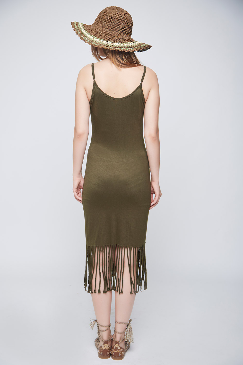 Olive Fringes Body-Con Dress -3