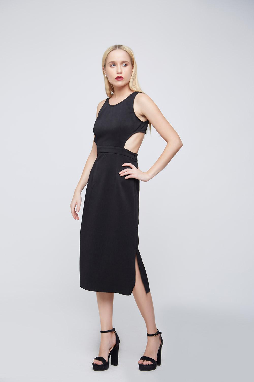 Side Cuts Black Punto Dress -0