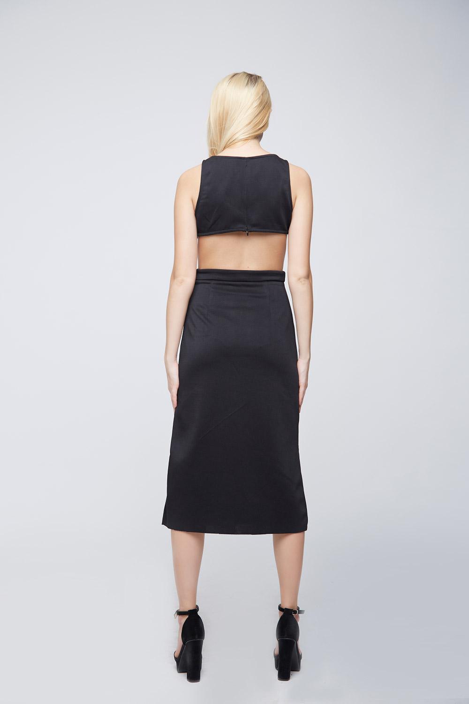 Side Cuts Black Punto Dress -1