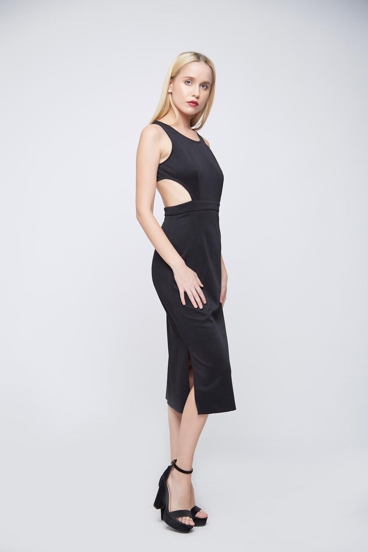 Side Cuts Black Punto Dress -3