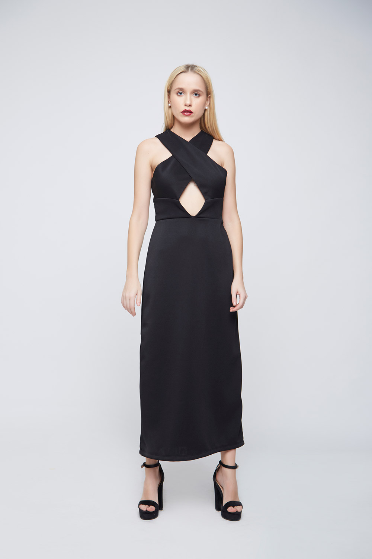 Black Criss-Cross Body-Con Dress -1