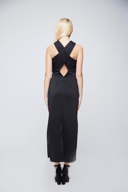 Black Criss-Cross Body-Con Dress -3