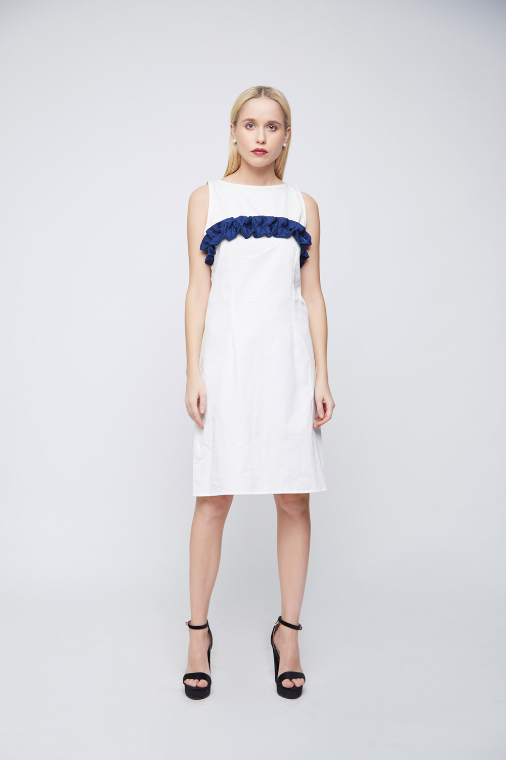 White Sheath Blue Ruffle Dress -0