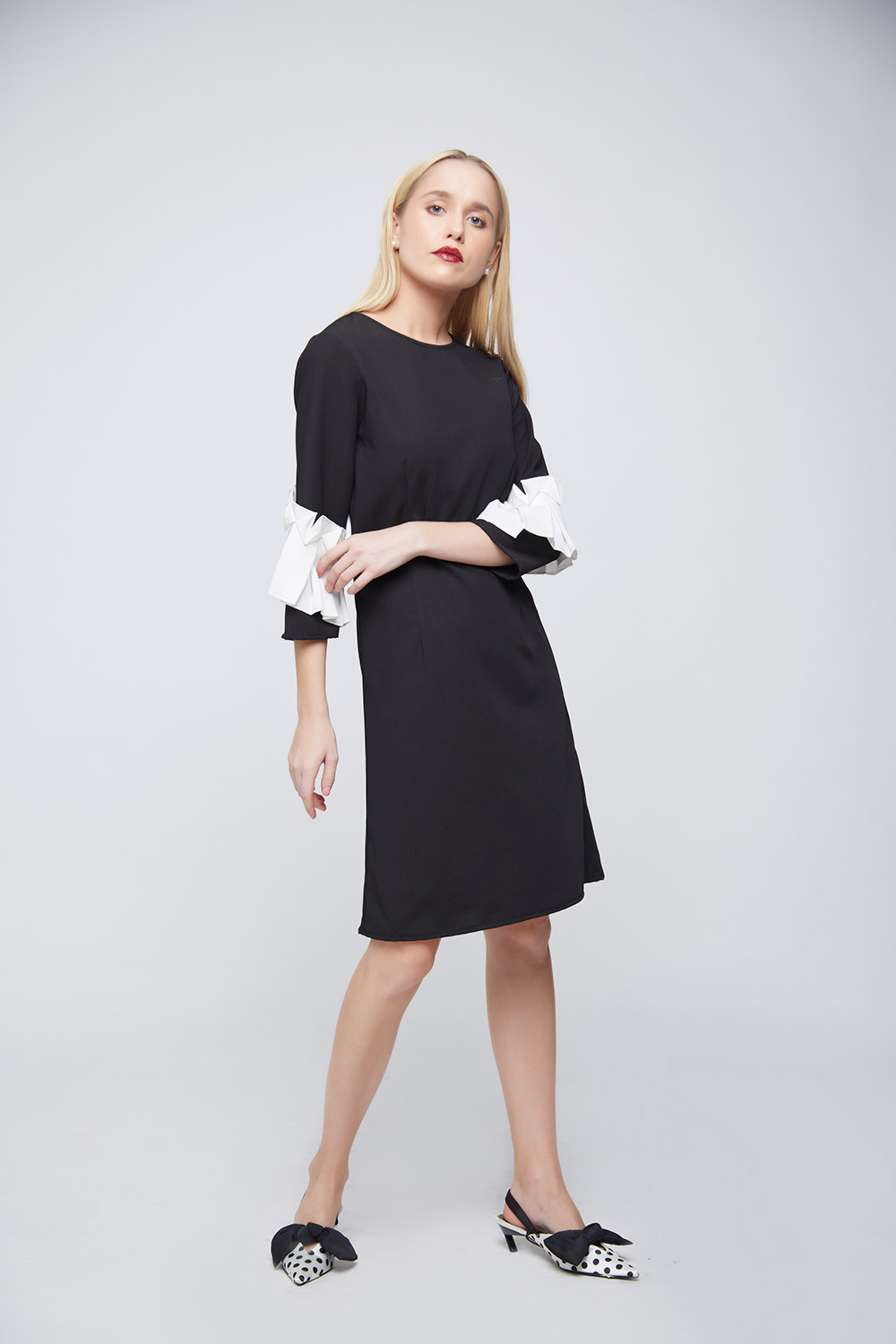 Black Sheath Square Ruffle Dress -3