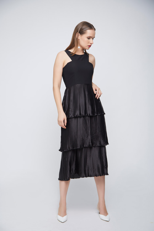 Black Pleated Layered Dress -1