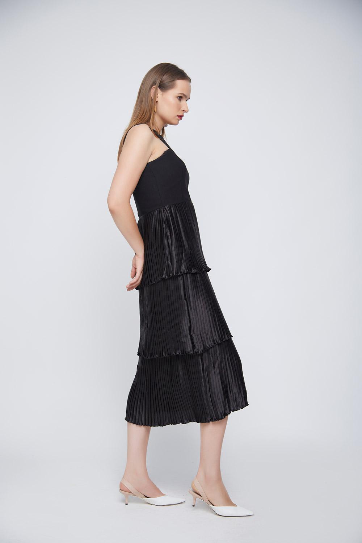 Black Pleated Layered Dress -2