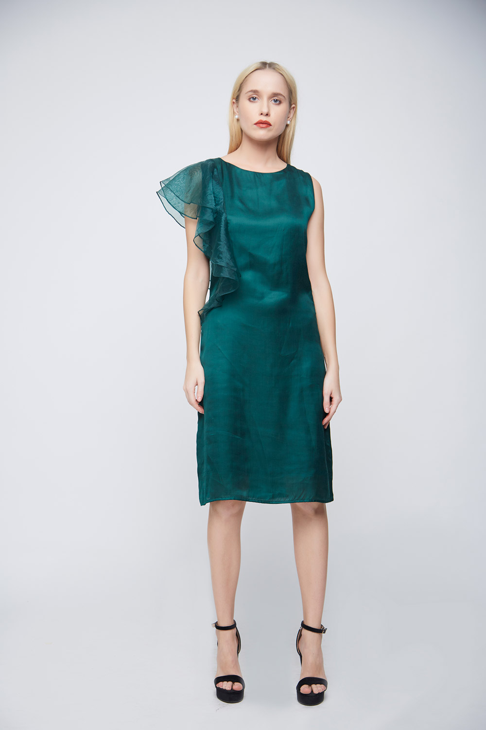 Green Double Sleeve Ruffle Evening Dress -0