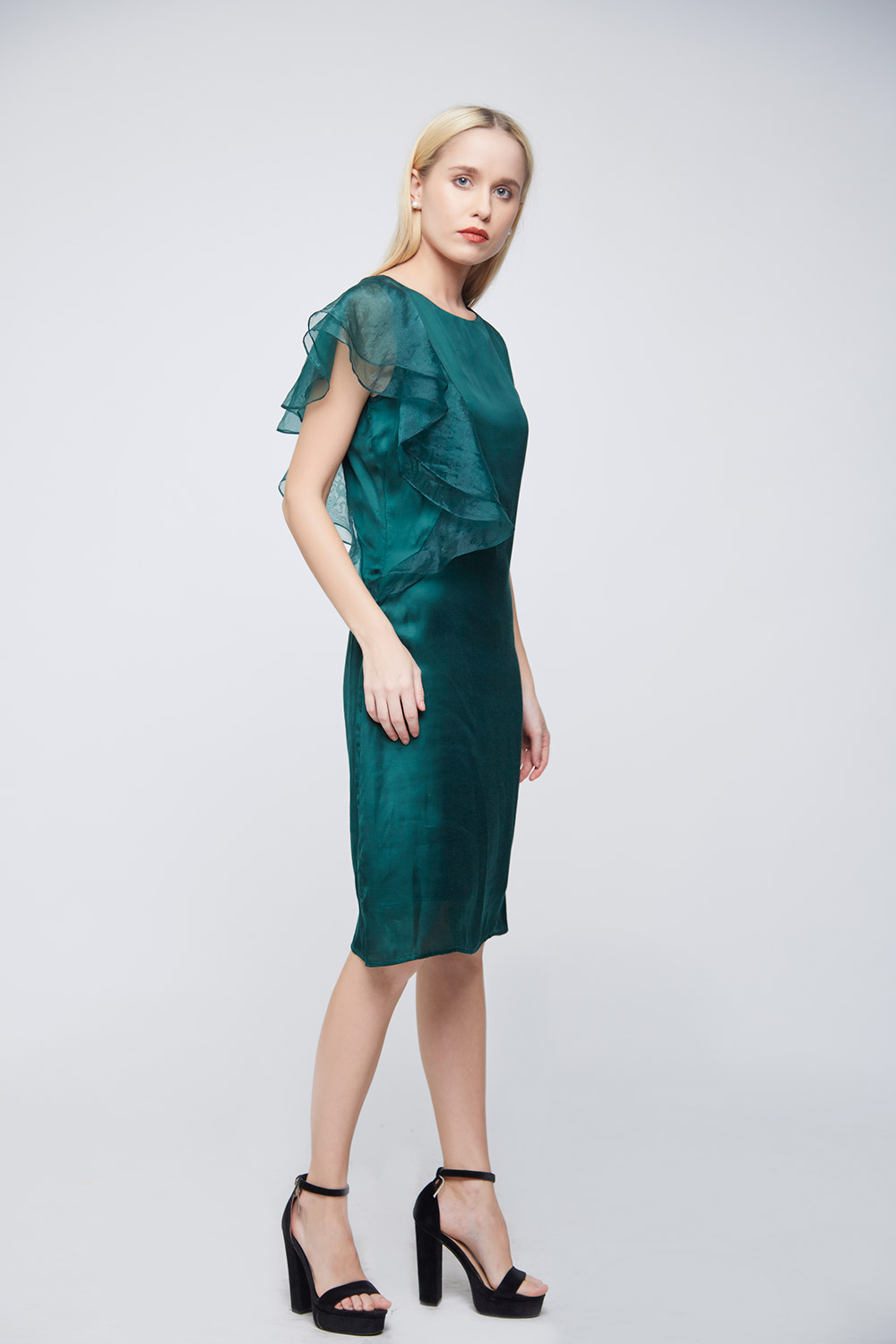 Green Double Sleeve Ruffle Evening Dress -1