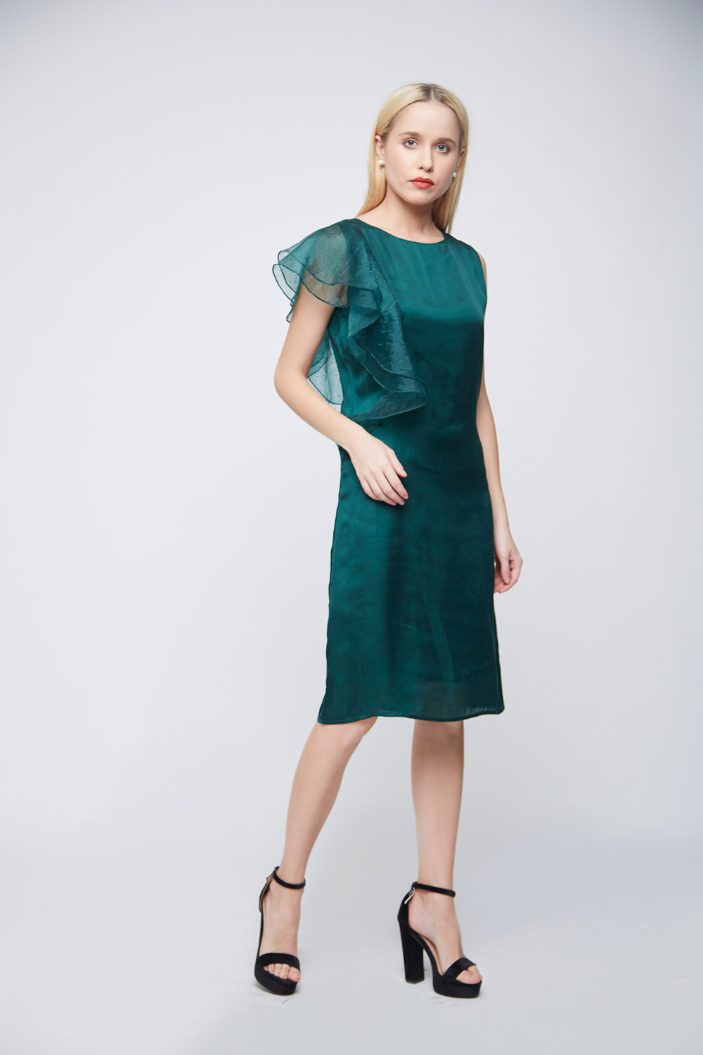 Green Double Sleeve Ruffle Evening Dress -2