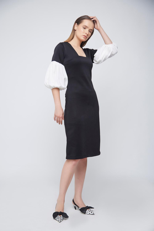 Ivory Baloon Sleeve Dress -0