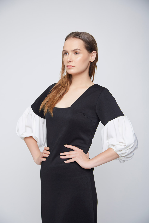 Ivory Baloon Sleeve Dress -1