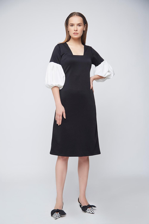 Ivory Baloon Sleeve Dress -2