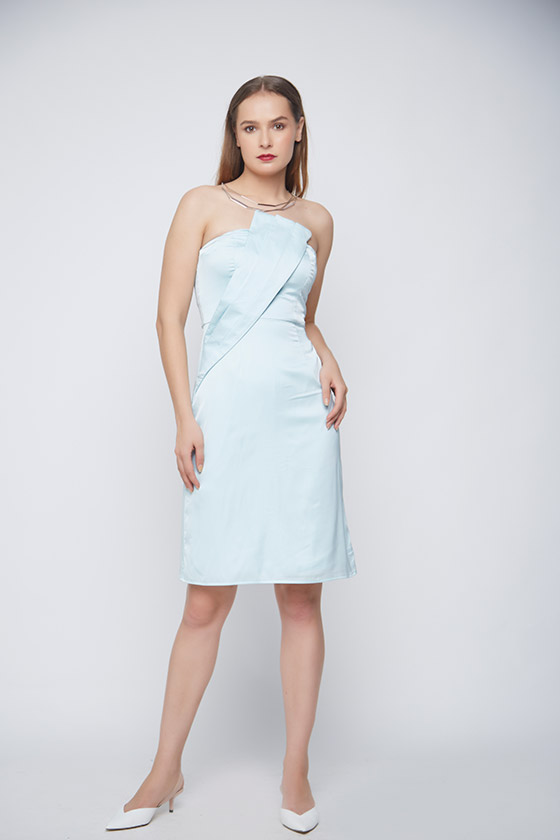 Unicorn Pleated Evening Dress - Front
