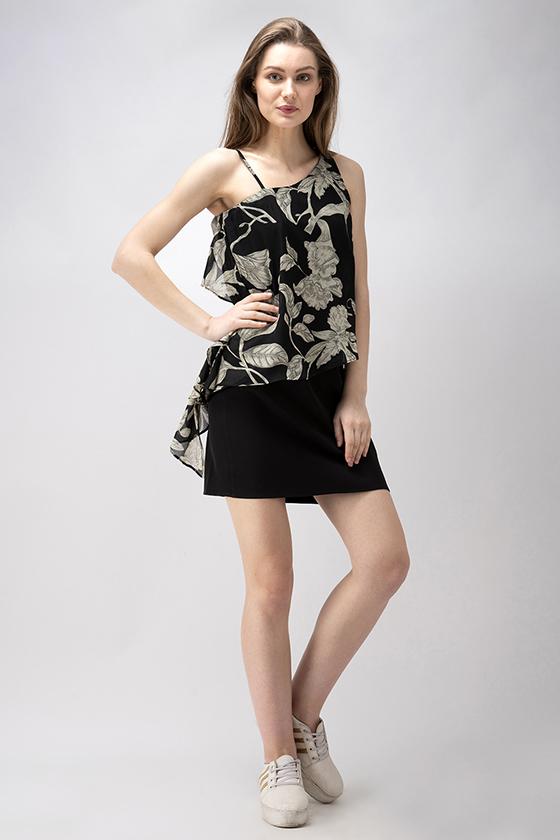 One Shoulder Black Printed Dress - Front