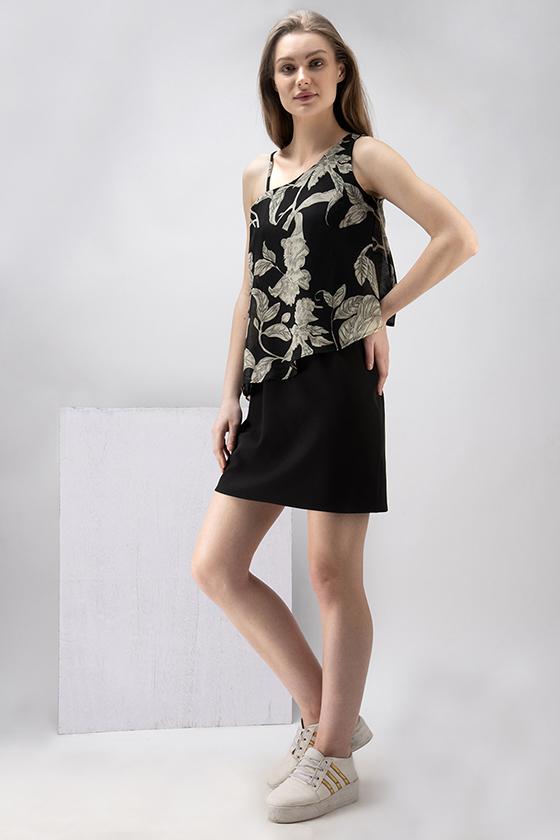 One Shoulder Black Printed Dress - Back