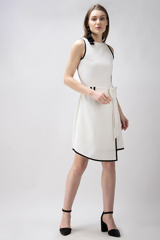 A-Symmetrical White Bow Dress - Front