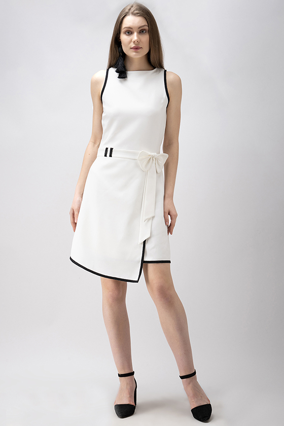 A-Symmetrical White Bow Dress - Back
